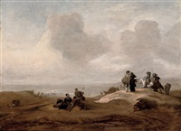 elegant figures in a dune landscape by jacob esselens