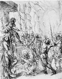 the martyrdom of a saint, ordered by a king by battista angolo del moro