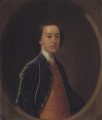 portrait of lord lewis gordon, aged 13, in a blue coat and a gold waistcoat by john alexander