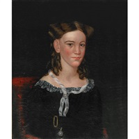 portrait of a young girl seated in a red chair (mary ash?) by ammi phillips