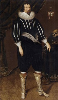 portrait of sir thomas lawley in a black slashed doublet and black hose, with white collar and cuffs, standing by a draped table with a skull and timepiece by edward bower
