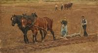 labourage à jette saint pierre en 1881 by frans van leemputten