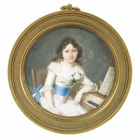 une jeune femme accoudée à son clavecin by louis ami arlaud-jurine