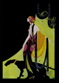 elegant woman walking leashed panther by charles mullin