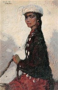 kazak girl riding a horse by ma jisheng