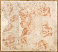 feuille d'études de figures et de visages d'enfants (recto-verso) by girolamo genga