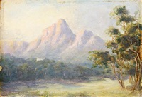 park scene with mountains in the distance (+ 2 others; 3 works) by edward clark churchill mace