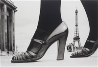 shoe and eiffel tower d, paris, by frank horvat