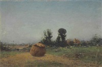 haystacks in a landscape by ivan pavlovich pokhitonov