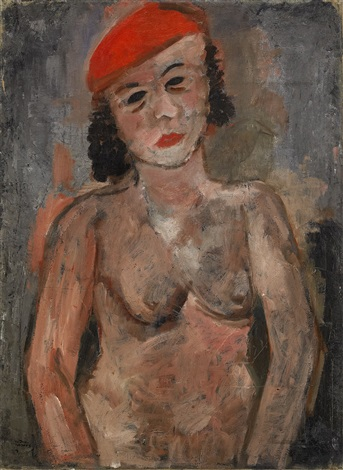 half figure nude in red beret by endre nemes