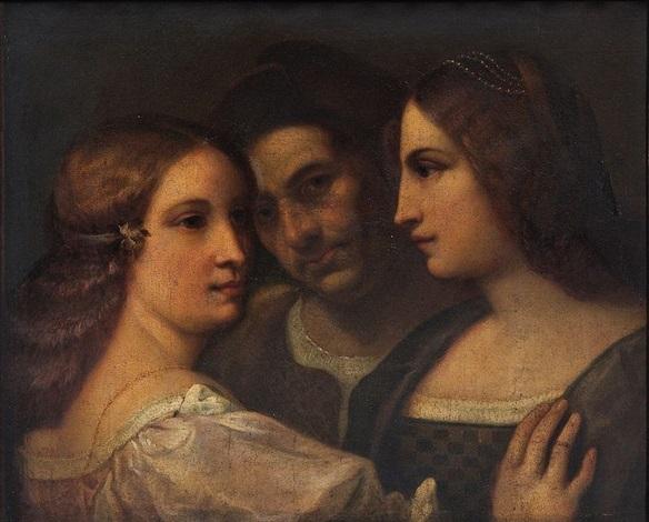 scène à trois personnages by titian tiziano vecelli