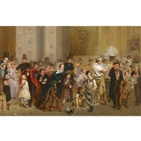 the general post office, one minute before six by george elgar hicks