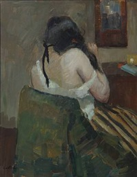 interior with a backturned woman sitting on a chair by carl fischer