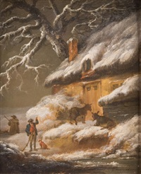 winter scene by george morland