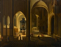a church interior at night with a priest saying mass by peeter neeffs the elder