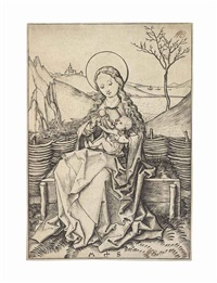the virgin and child on a grassy bench by martin schongauer