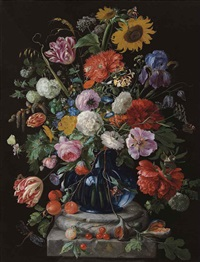 tulips, a sunflower, an iris, anemone, hydrangeas, honeysuckle, willow catkins, carnations and other flowers in a glass vase on a marble pediment by jan davidsz de heem