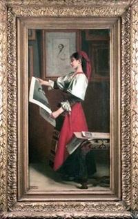 jeune fille admirant des gravures by louis edmond pomey