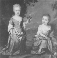 portrait of elizabeth and sarah, daughters of george gould in arcadian landscape by william gandy
