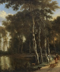 a hawking party on a woodland path by jan hackaert and adriaen van de velde