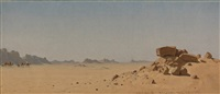 the desert at assouan, egypt by sanford robinson gifford