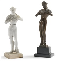circus figure (+ another, plaster; 2 works) by elie nadelman