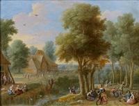 paysage animé de promeneurs en bord de rivière by gaspar de witte