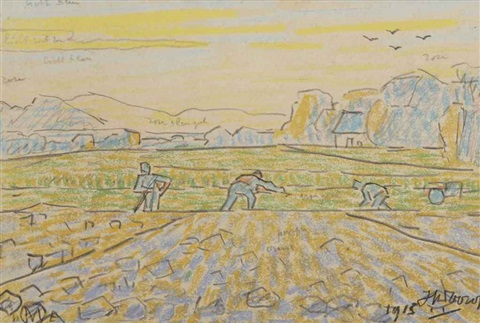 farmers working the land by jan toorop