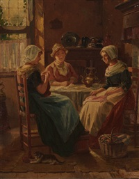 three young women in a kitchen by adolf raufer