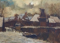 dutch town in winter by jan korthals