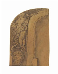design for an arched wall decoration: putti with garlands of flowers and a classical urn showing a charging bull by taddeo zuccaro