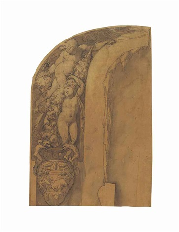 design for an arched wall decoration putti with garlands of flowers and a classical urn showing a charging bull by taddeo zuccaro
