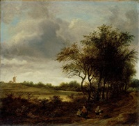 a landscape with figures on a tree-lined path, a windmill beyond by guillam dubois