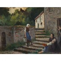 rolleboise, conversation devant la chaumière by maximilien luce