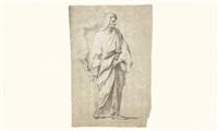 etude de personnage drapé debout by jean-baptiste corneille