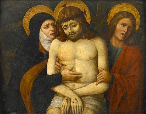 the dead christ supported by mary and saint john the evangelist by giovanni bellini