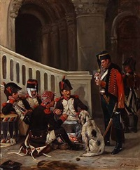french officers preparing dinner by charles louis kratke
