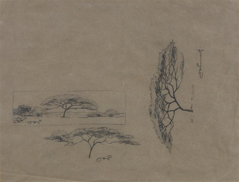 Two Drawings Mountain View And Tree Studies By Jacob Hendrik