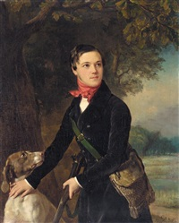 portrait presumed to be of prince galitzine dressed for the hunt by pimen nikitich orlov