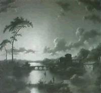 paysage fluvial au clair de lune by jacques sablet