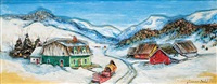 untitled - horse and sleigh waiting in the mountain village by yvonne bolduc