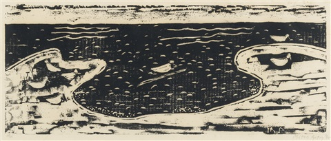 head and birds and sea 2 works by milton avery