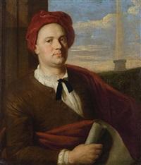 porträt eines architekten mit karminroter kappe und papierrolle (giovanni antinori?) by stefano tofanelli