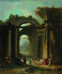 lavandières dans des ruines antiques by marius hubert-robert