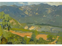 pasadena foothills with lone house by franz arthur bischoff