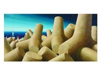 the breakwater, fiumicino by jeffrey smart