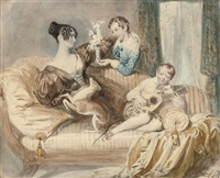 a portrait of julia shaw with her two sons and a whippet by daniel maclise