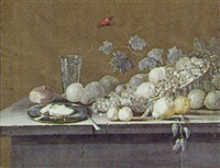 nature morte med kurv med frugter, glas, brod, ostetallerken og kniv på en stenkarm by johanne marie (mme. westengaard) fosie