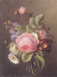 a bouquet of primroses and other flowers by ange louis guillaume lesourd-beauregard