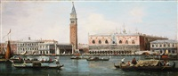 view of the doge's palace and piazzeta from the lagoon view of san giorgio maggiore from the lagoon by canaletto
